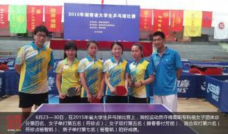6月23—30日,在2015年省大学生乒乓球比赛上,我校运动员夺得高职专科组女子团体总分第四名、女子单打第五名(符珍贞)、女子双打第五名(滕春春付芳丽)、混合双打第六名(符珍贞杨智凯)、男子单打第七名